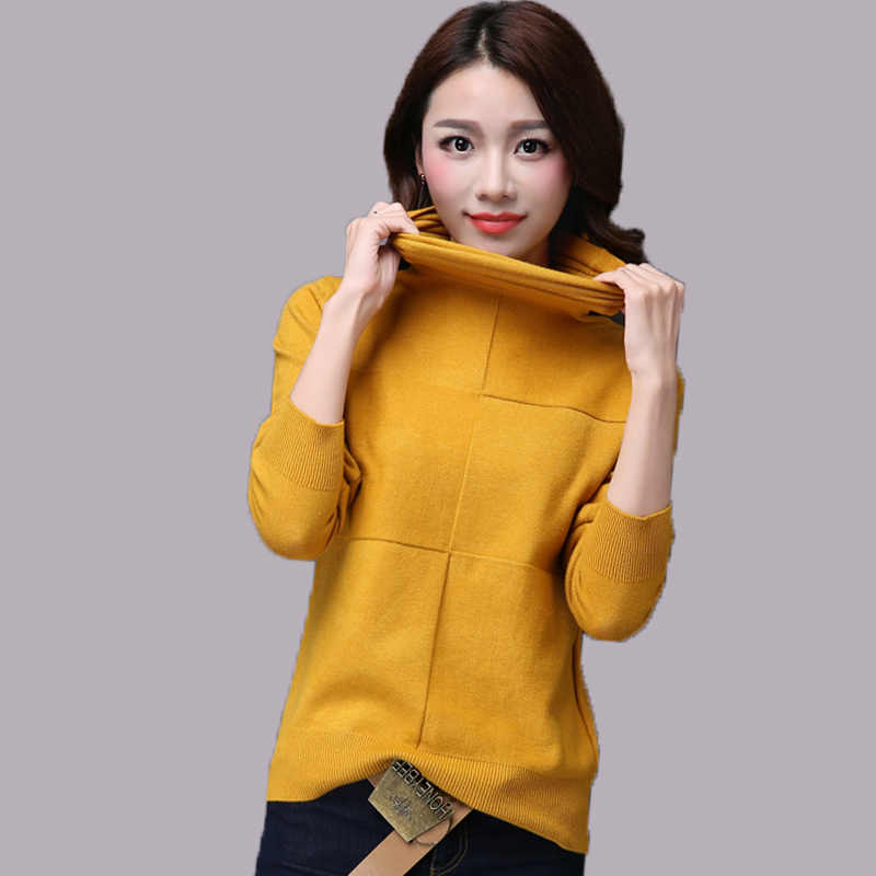 Женский свитер с высоким воротом, Осень-зима 2018, вязаный пуловер, свободный удобный мягкий джемпер с длинным рукавом, женский свитер 47