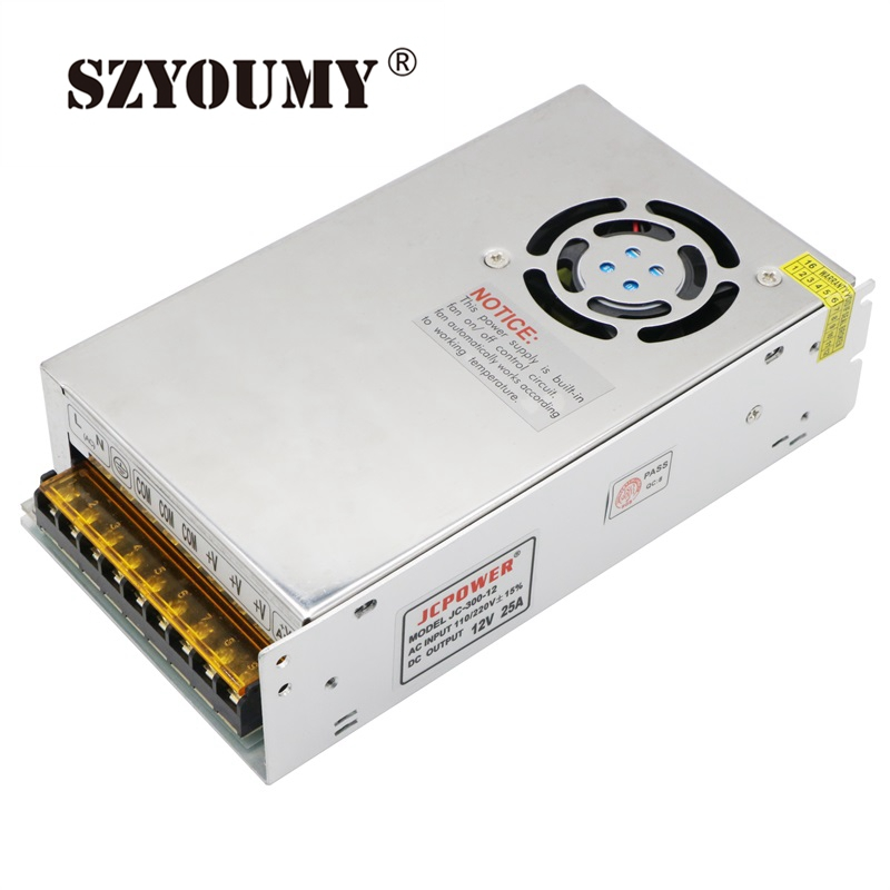 SZYOUMY 5PCS 12V 25A 300W Switching Power Supply Driver for LED Strip AC 110 240V Input