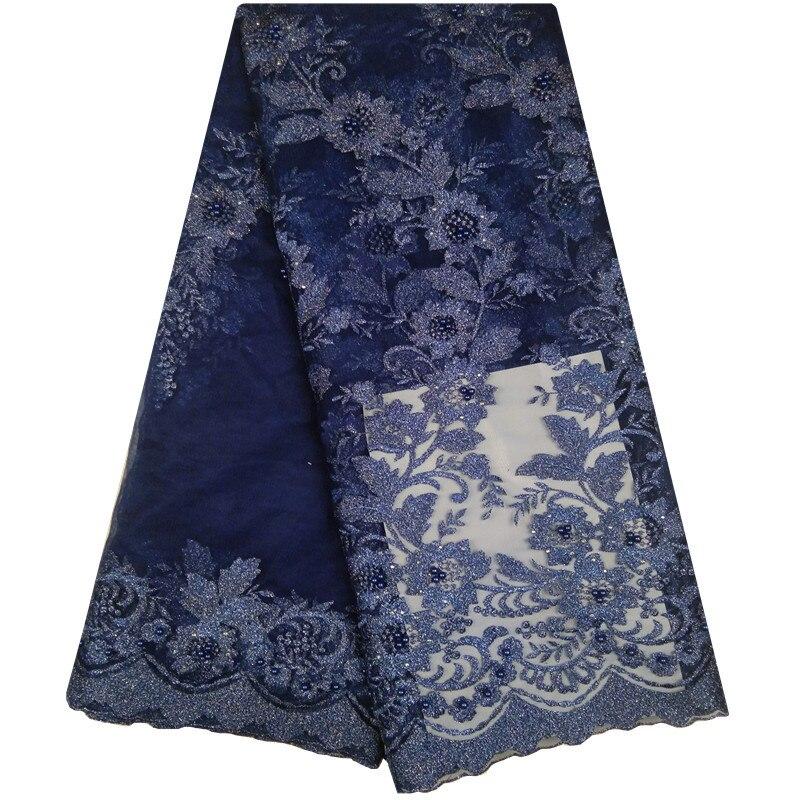 Tecido de Renda para a Mulher Escuro Azul Marinho Africano Rendas Tecidos Rosa Verde Cerceta Francês Alta Qualidade Lantejoulas George Nigeriana 1099