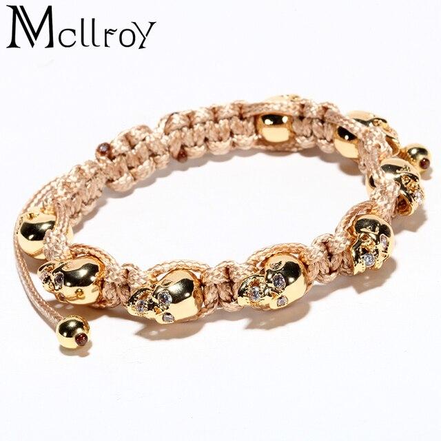 Mcllroy bracelet men skull Inlaid zircon rope diy handmade woven bracelets titanium steel man bracelets accessories adjustable
