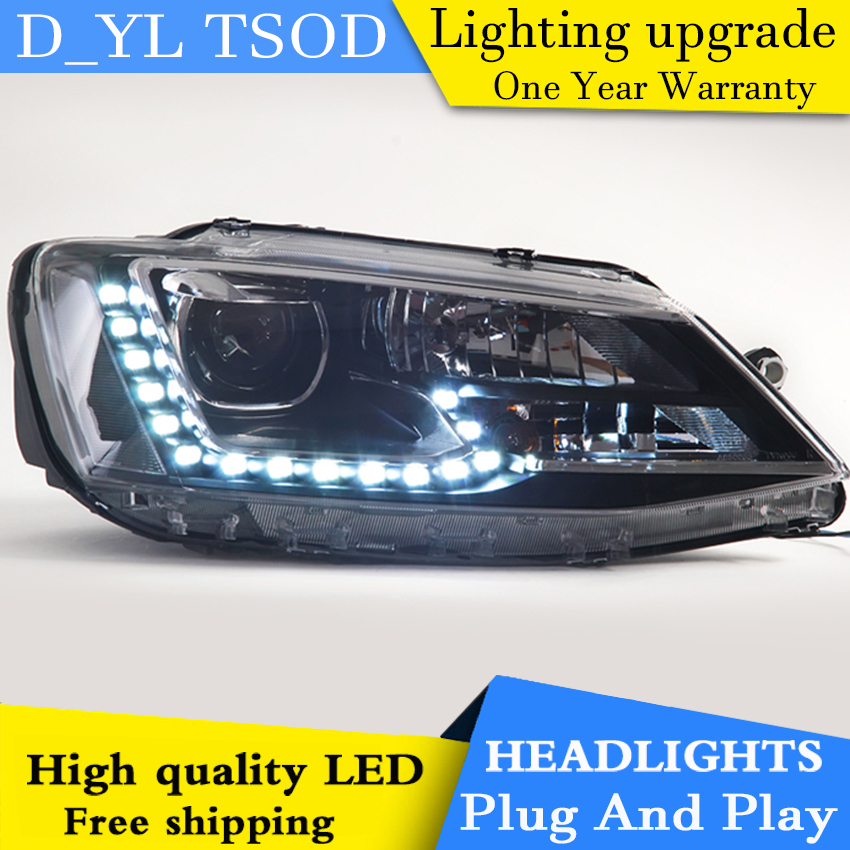 D_YL Car Styling LED Head Lamp for VW Jetta headlights 2012 2016 Jetta led headlight led drl H7 hid Q5 Bi Xenon Lens low beam-in Car Light Assembly from Automobiles & Motorcycles    3