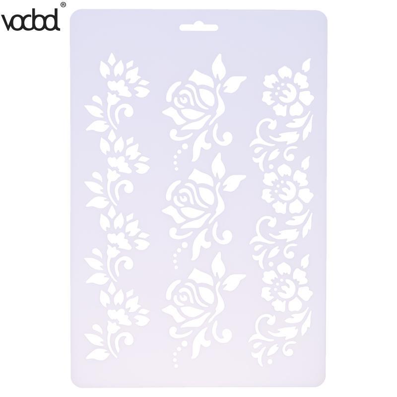 VODOOL DIY Craft Roses Flower Layering Plastic Stencils Scrapbooking Painting Stamps Album Decorative Embossing Paper Crafts cutiepie kinds of 0 9 numbers transparent clear stamps for scrapbooking diy silicone seals photo album embossing folder stencils