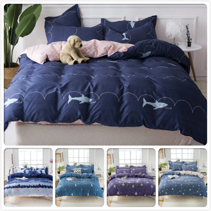 Blue Pink AB Side Duvet Cover Beddling Set Kids Child Soft Cotton Bed Linens Single Twin Full Queen King Size 1.5m 1.8m 2m 2.2m