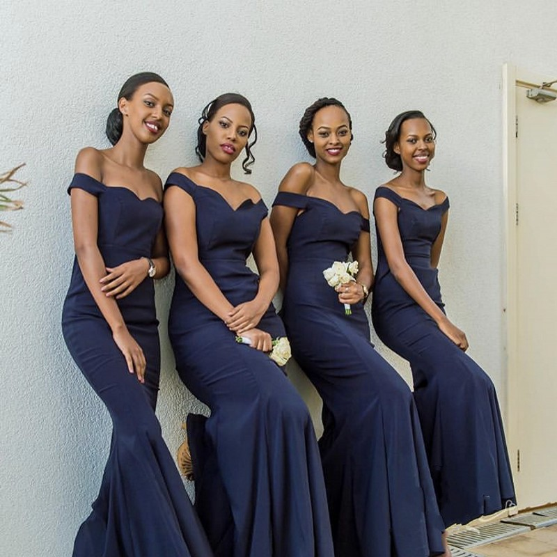 Customized Navy Blue Sweetheart Off The Shoulder Satin Mermaid   Bridesmaid   Gowns Elegant   Bridesmaid     Dresses   Fast Shipping
