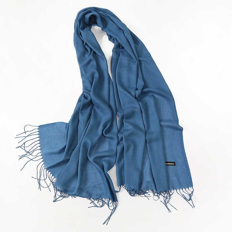 2019 nueva marca de lujo mujeres Cachemira sólido playa bufanda Primavera/Verano fino chales Pashmina y envoltura foulard femenino Hijab estolas