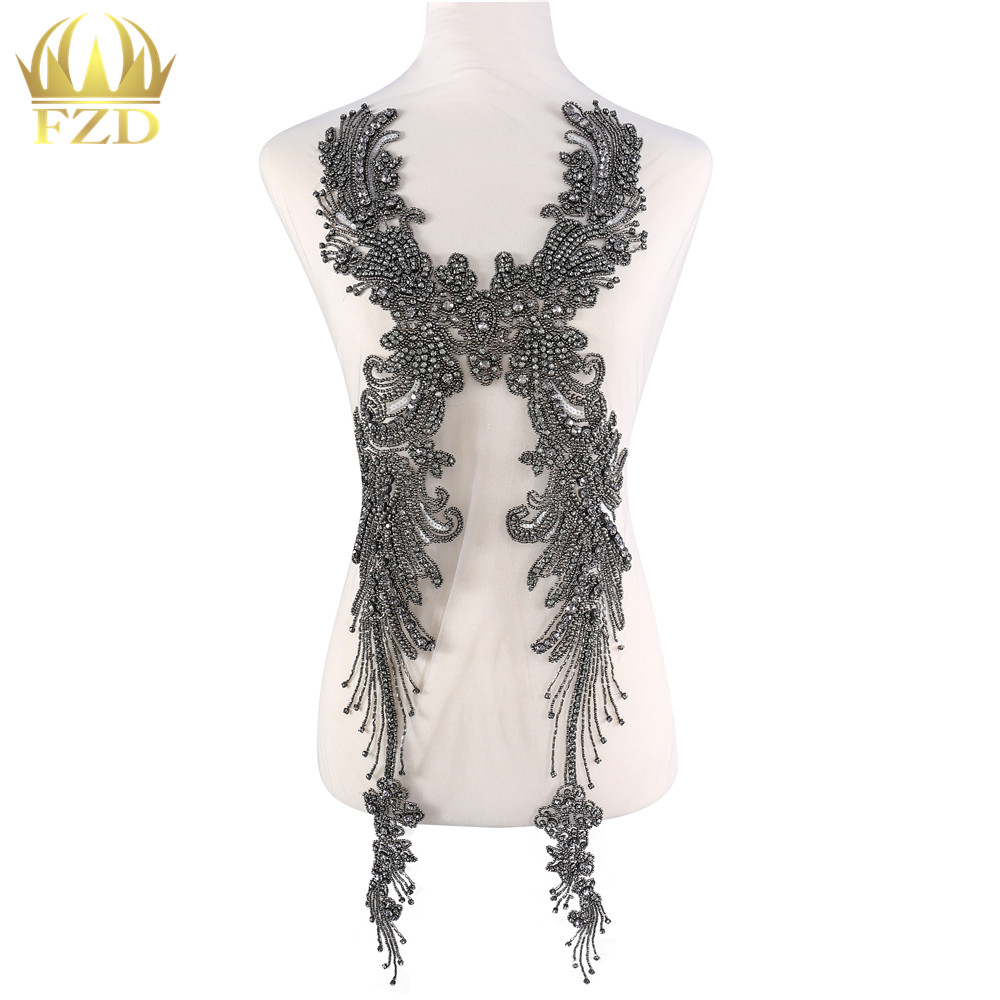 FZD 1 Piece Tasseled stone clothing Beaded Rhinestone Applique Patches with Gauze for Wedding Dress and