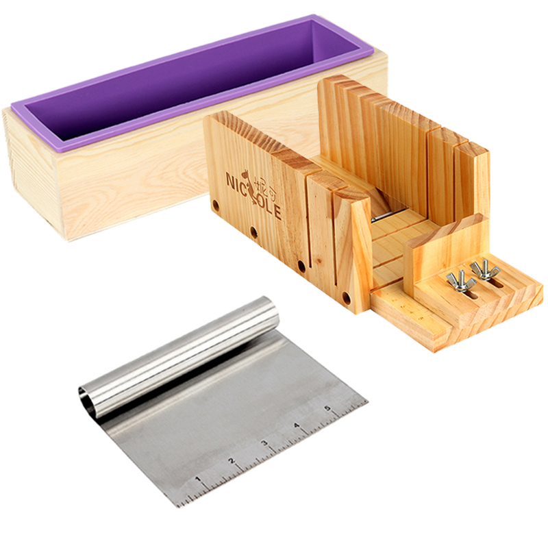 3 PCS Soap Making Tool Set Rectangular Silicone Mold with Adjustable Wooden Loaf Cutter Box and