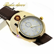 Rechargeable USB Watch Lighter Electronic Cigarette Lighter USB Charge Flameless Cigar Wrist Watches Lighter for Man