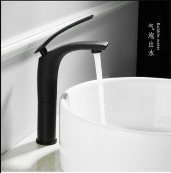 Bathroom Basin Faucet Black Baking Solid Brass Faucet Sink Mixer Tap Hot and Cold Waterfall Basin Faucet Free Shipping 12