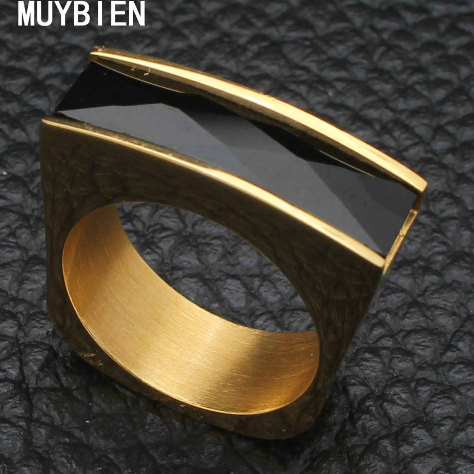 MUYBIEN Punk กว้างเปลือกสแตนเลสแหวนทองและ Sliver Ringwith รอบ AAA Cubic Zirconia หินเครื่องประดับ RBJKAEBE