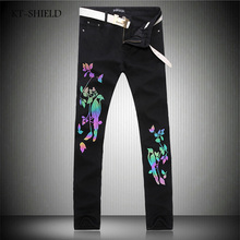 New Arrival Luminous Bird Floral Printed Jeans High Quality Black Denim Overalls Mens Fashion Skinny Biker Jeans Brand Clothing