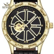 SEWOR 2019 Luxury Brand Fashion Chalet Yoke Shape Mens Automatic Mechanical Wrist Watch Men Sport Watch relogio masculino C379