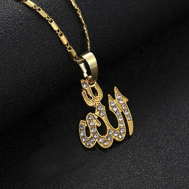 クラシックイスラムアッラーペンダントネックレス女性シルバー/ゴールド色 CZ ラインストーンネックレス宗教イスラム教徒のジュエリー卸売