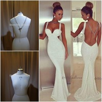... New Sexy Backless Evening Dresses Mermaid Tank White Sequins Long Prom  Party Special Occasion Gowns With ... f639442b272b