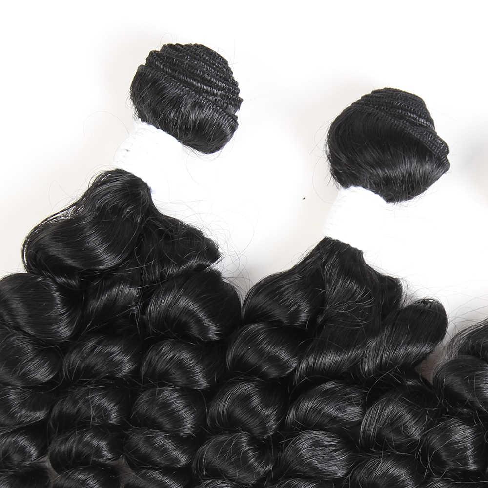 X-TRESS 16-18 zoll Funmi Lockige Synthetische Haar Spinnt 4 Bundles Ombre Braun Farbe Kurze Haare Schuss Erweiterung Wärme beständig Faser