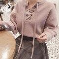 Explosión Grandes Linternas Tela Gruesa Ojales Respaldo Suéter de Punto del Suéter Del Invierno Mujeres de Cuello Alto