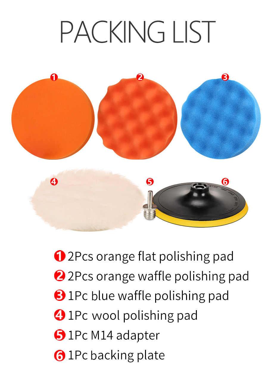 Spta 8 Stuks Buffer Pad Set 5/6/7 Inch Auto Polijsten Pad Kit Voor Auto Polijstmachine + Boor adapter M14 Power Tools Accessoires