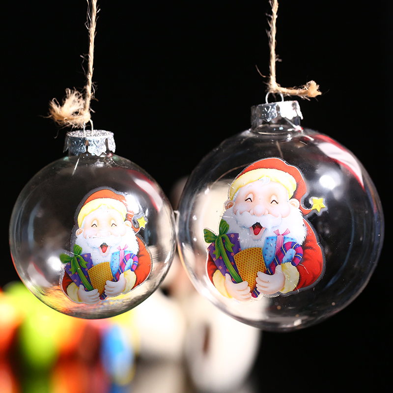 Clear Glass Ball Ornament / Santa Claus & Presents/ Father ...