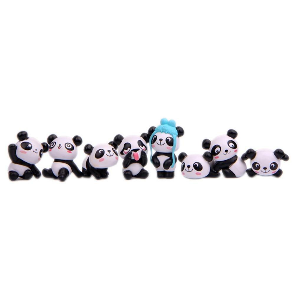 8Pcs/Set Cute Cartoon Panda Toy Figurines Landscape Fairy Garden Miniature Decor 2019