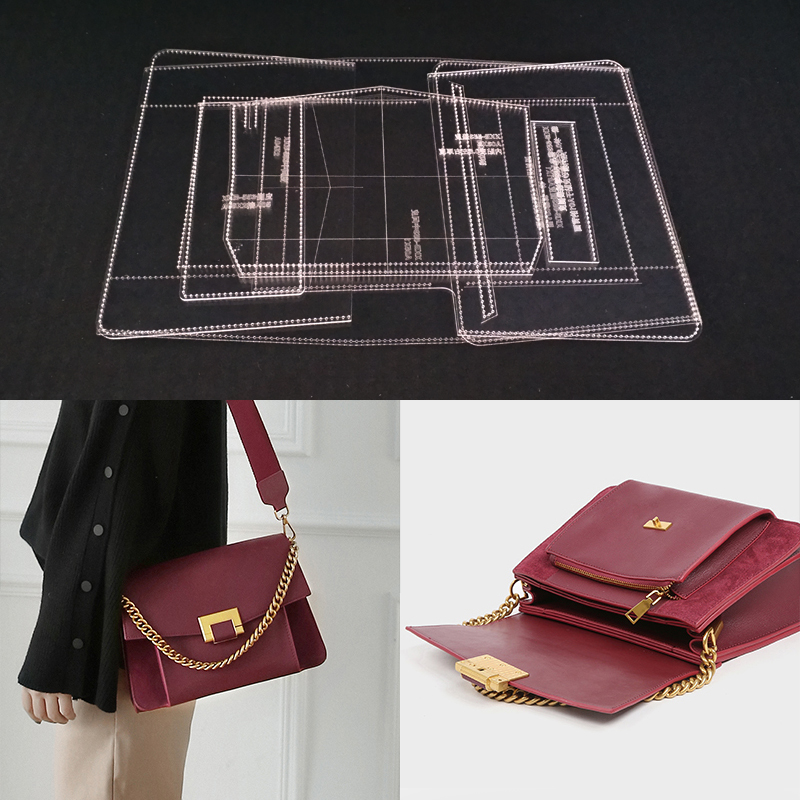 Acrylic Stencil Laser Cut Template DIY Leather Handmade Craft Shoulder Bag Sewing Pattern 270x190x90mm