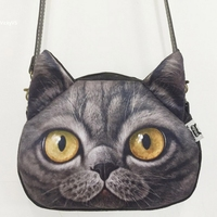 One Shoulder Bags Imitation Leather Handbag Messenger Bag Lovely Female Big Size Cute Cat Anime Purse
