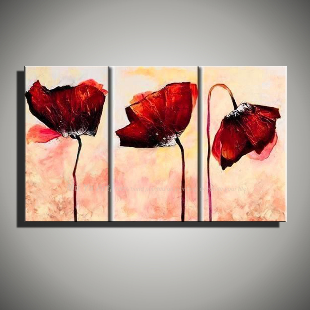 3 Piece Abstract Modern Handmade Flower Art Painting Red Poppy