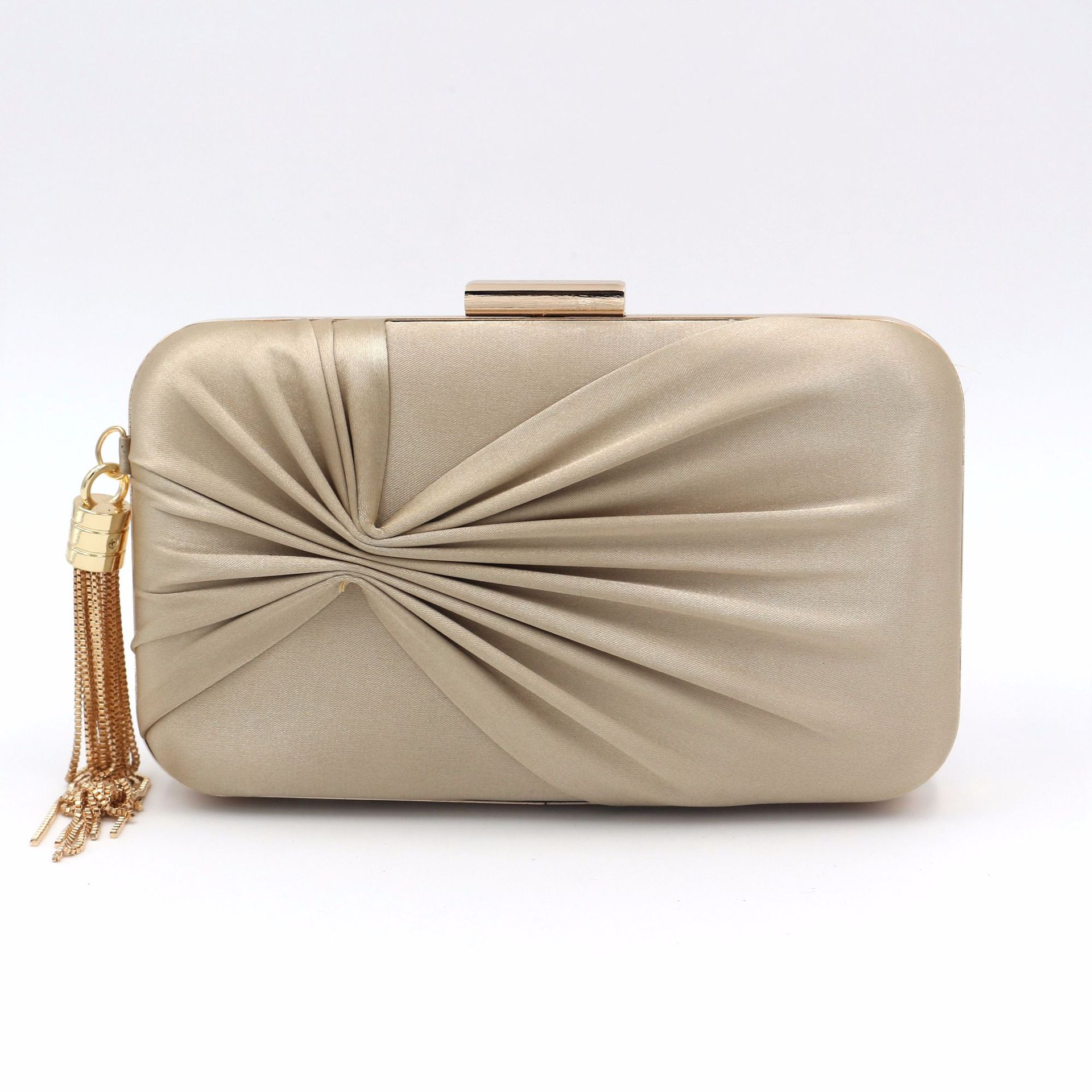 Vintage Dinner Bag Golden Tassel Evening Dress Bag Womens Satin Silk Handbag Day Clutch Elegant Purse