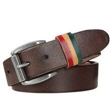new handmade genuine leather belt men buckle belts for cow skin brown color  jean strap