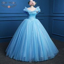 Blå Cinderella Prom Dress 2015 Ny Film Cosplay Kostym Ballkjole Party Dresses Real Photo
