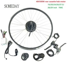 цена на SOMEDAY 48V500W electric bicycle conversion kit 16 20 24 26 27.5 700C 29inch Ebike rear cassette hub motor with LED900S display