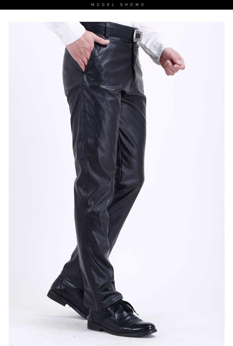 HTB17RoPbffsK1RjSszgq6yXzpXaP Thoshine Brand Summer Men Leather Pants Elastic High Waist Lightweight Casual PU Leather Trousers Thin Motor Pants Plus Size