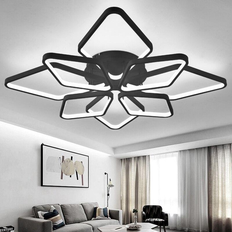 NEO Gleam Black Or White Aluminum Chandeliers For Living Room Bedroom Home Deco Modern Led Ceiling