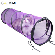 Funny Pet Tunnel Cat Play Rainbown Brown Foldable 2 Holes Kitten Toy Bulk Toys Rabbit Cave