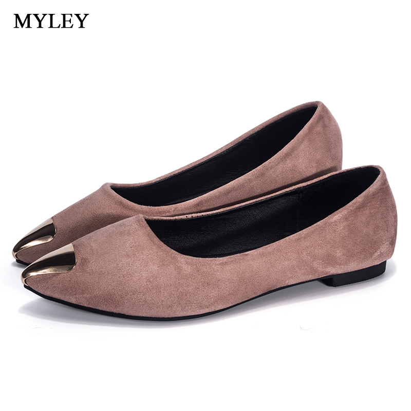 MYLEY Fashion Ladies Casual Shoes Woman Comfortable Sole Footwear Gold Pointed Toe Decoration Flats Boat Shoe For Dress Patry 2016 new arrival elegant pointed toe flats for women casual brand shoes woman flats fashion flock boat shoes free shipping