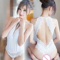 New Transparent Lace Sexy Hollow Vest Deep V Teddy Hot Shapers Panty Bodysuit Women Underwear Bra