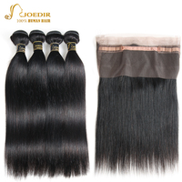 Joedir Pre Colored Peruvian Straight Hair Bundles With Closure 360 Lace Frontal Closure With Human Hair 4 Bundles Non Remy