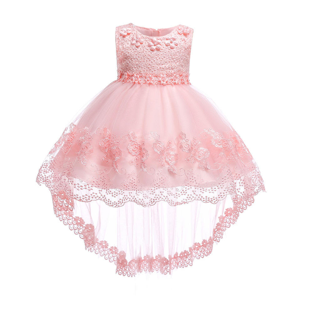 Summer Flower Lace Girls christening Wedding Pageant Party Dresses for baby Princess Formal Prom Gowns 2018 New Kid girl clothes hearted shape back summer new princess girl s lace christening white big bowknot mesh sleeveless show performance formal dress