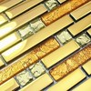 Golden Color Diamond Mixed Crystal Glass Mixed Stainless Steel Mosaic Tiles Kitchen Backsplash Living Room Wall