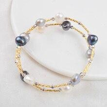 лучшая цена ASHIQI Real Natural Freshwater Baroque Pearl Bracelets & Bangles For Women Jewelry Gift