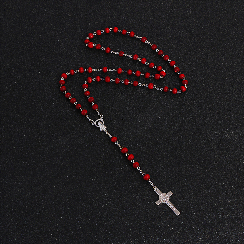 Komi Necklace For Women Men Statement Fashion Jesus Pendant Holiday Christian Rosary Bead Red Color Accessories Party Gift R-072