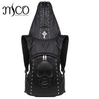 2017 Fashion Personality 3D skull leather backpack rivets skull backpack with Hood cap apparel bag cross bags hiphop man Cool