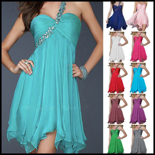 Prom One  Shoulder Beaded Bridesmaid Women Party Deep V-neck Dress