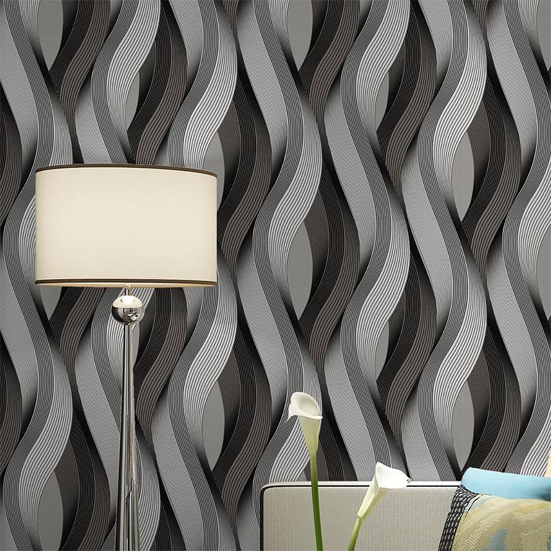 Black Grey White Metallic Texture 3D Wave Wallpaper Vinyl Quality Modern Luxury Wall Paper Roll