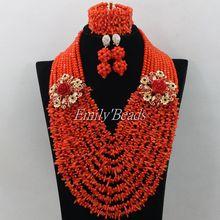 Naranja cristal se mezclan de Coral perlas joyería fija 2016 Beads boda africanos moda nigerianas joyería fija el envío gratis AMJ958