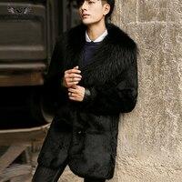 TopFur Для мужчин шуба из натурального куртки из кроличьего меха, длинные зимние пальто кроличий мех класса «Люкс» из енотовидной собаки с отл