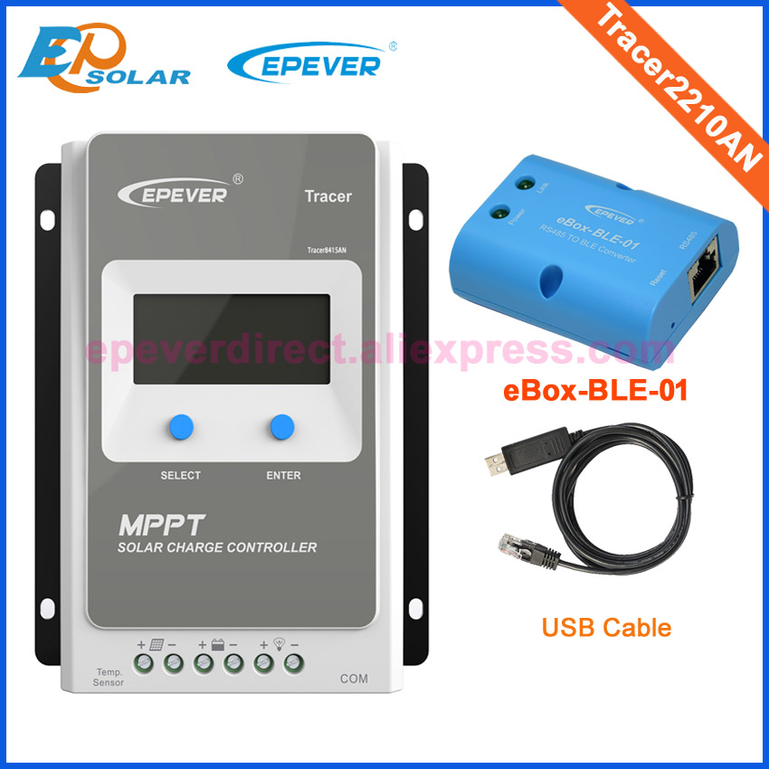 Solar panels regulator controller Tracer2210AN eBOX-BLE-01 USB cable EPEVER MPPT 12V 24V battery auto charger work 20A solar regulator 20a mppt tracer2210an with wifi and usb for 12v 24v auto work