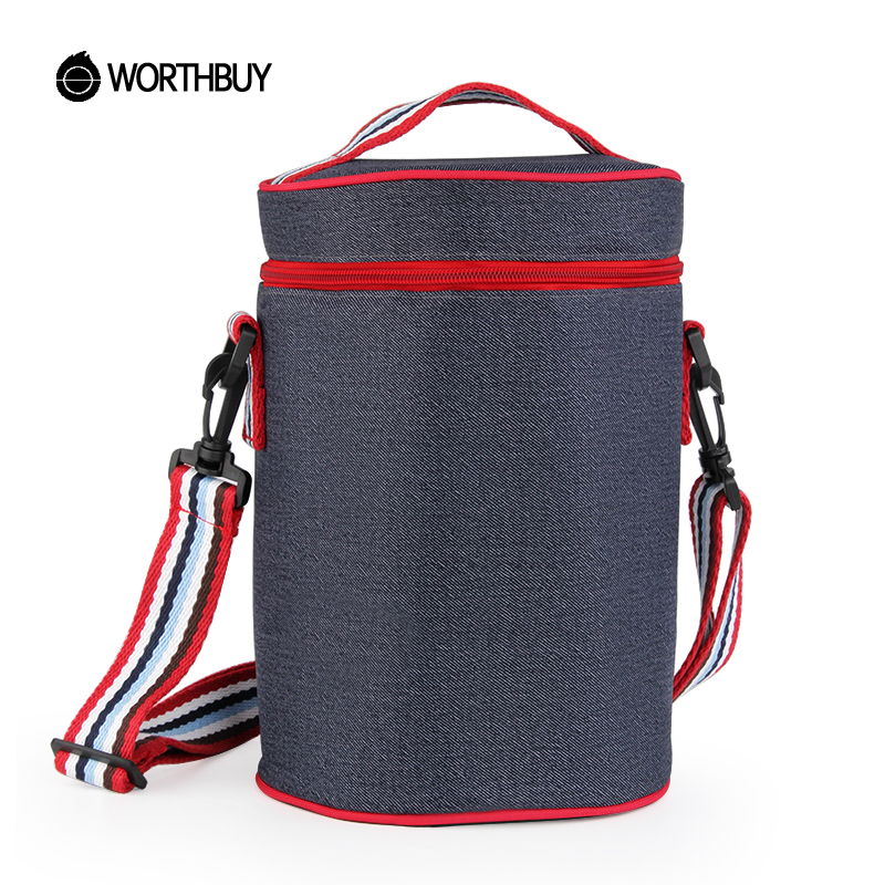 WORTHBUY Thermal Insulated Cooler Denim Lunch Bag Dustproof Waterproof Lunch Box Bags With Tinfoil Portable For Kids Picnic Tote