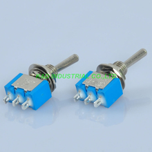 20pcs Blue Mini Toggle Switch DPDT ON-ON Solder 3Pin 6A for Guitar Amp Audio Tube 50 pieces 6 pin dpdt on off on toggle switch 6a 125vac