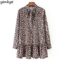 Vintage mujeres primavera blusa de leopardo Camisa larga dulce pajarita stand collar manga larga casual más tamaño Blusas