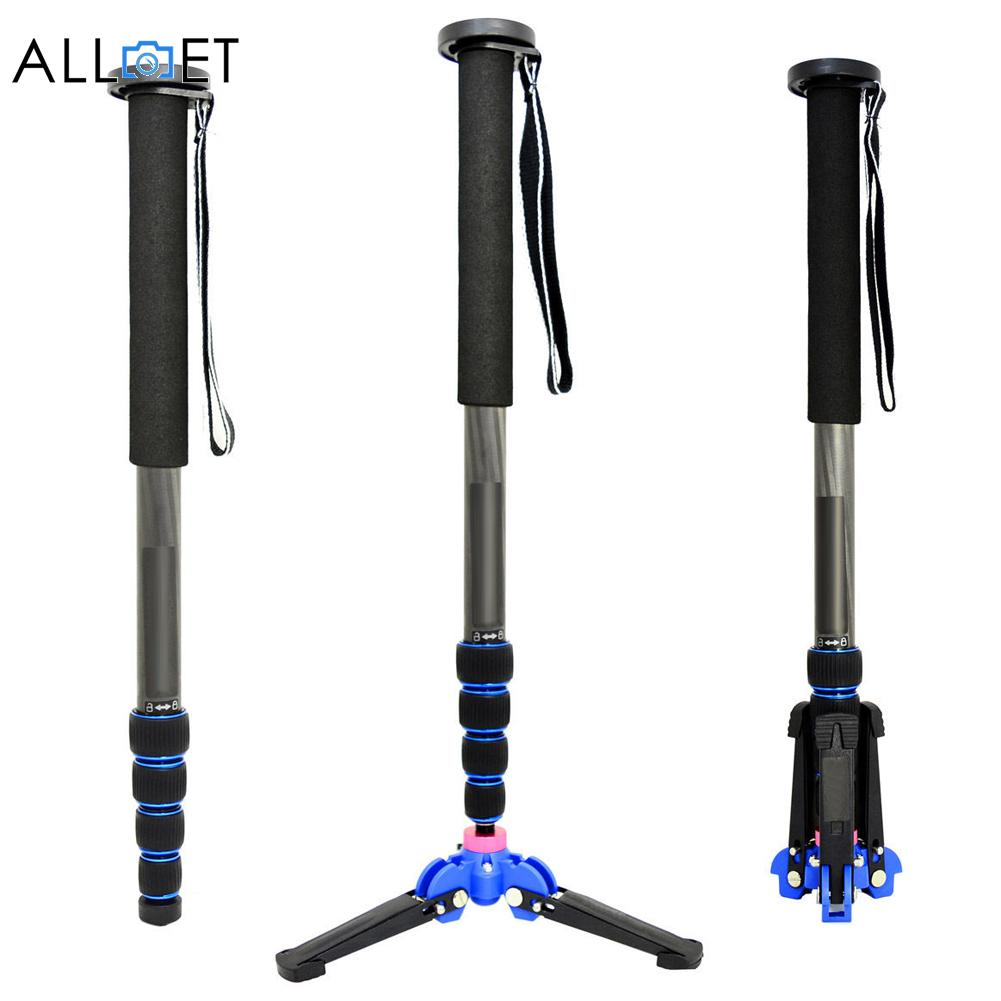 Professional 65 Inch Carbon Fiber Camera Monopod Video Monopods Aluminum Table Top Tripod 4 Section Carrying Bag Max Load 18lbs sirui a 1205 a1205 tripod professional carbon fiber flexible monopod for camera with y11 ball head 5 section free shipping